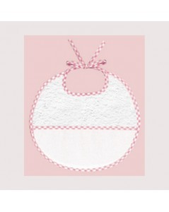 Pink gingham terry bib