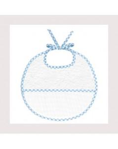 Bavoir en éponge avec une bande en Aida de coton 7 pts/cm, à broder, bord vichy bleu. BAV12 Le Bonheur des Dames