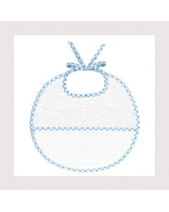 White terry bib with blue gingham edge and 7 pts/cm cotton Aida band to stitch. BAV12 Le Bonheur des Dames