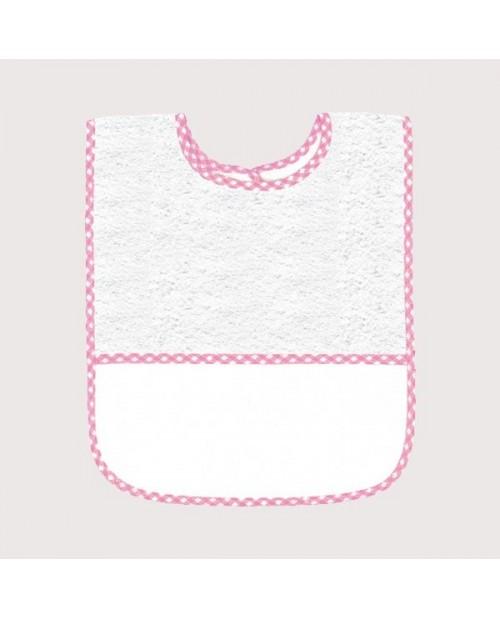 Bavoir en éponge blanc avec bord vichy rose, avec bande à broder en Aida 5,5 pts/cm. BAV14