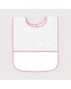 White terry bib with pink gingham edge and Aida 5,5 pts/cm band to embroider. BAV14