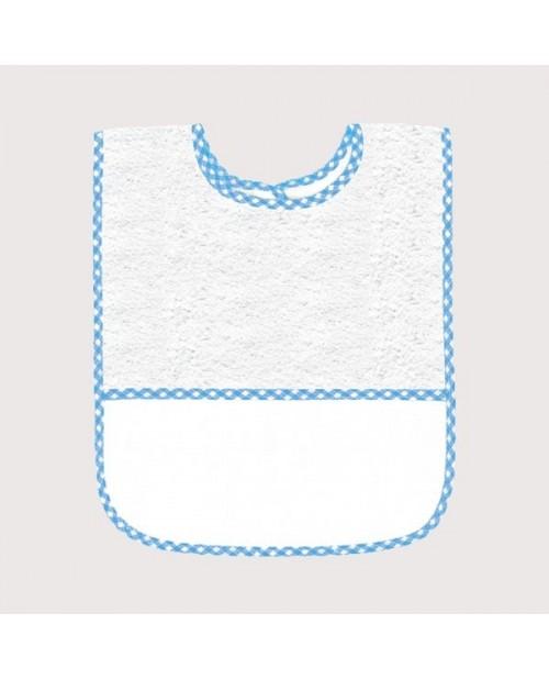 Bavoir en éponge blanc avec bord vichy bleu, avec bande à broder en Aida 5,5 pts/cm. BAV15