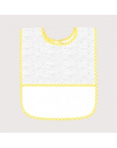 White terry bib with yellow gingham edge and Aida band to embroider. BAV16