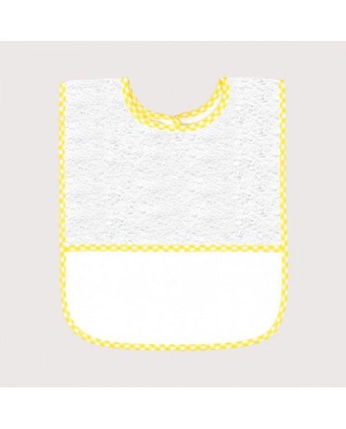 Bavoir en éponge blanc avec bord vichy jaune, avec bande à broder en Aida 5,5 pts/cm. BAV16
