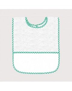White terry bib with green gingham edge and Aida band to embroider. BAV17