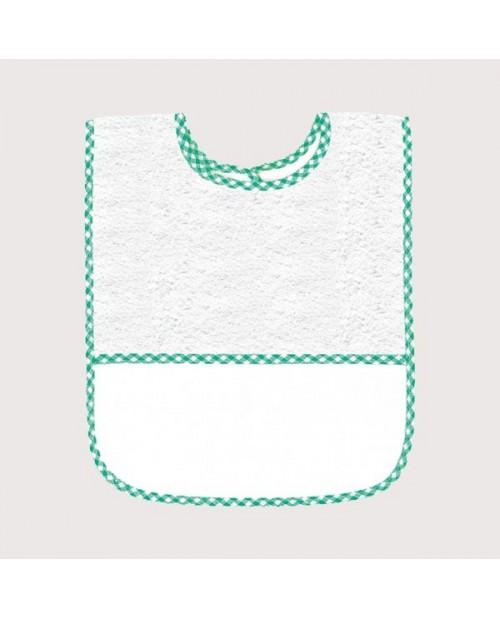Bavoir en éponge blanc avec bord vichy vert, avec bande à broder en Aida 5,5 pts/cm. BAV17