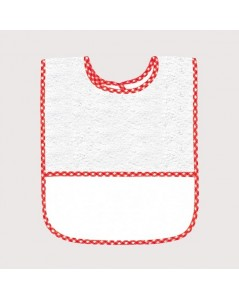 White terry bib with red gingham edge and Aida band to embroider. BAV18