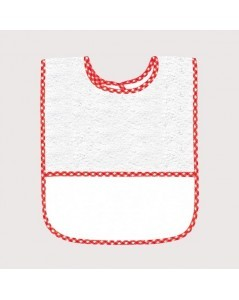 Bavoir en éponge blanc avec bord vichy rouge, avec bande à broder en Aida 5,5 pts/cm. BAV18