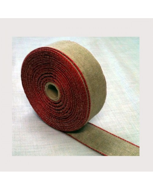 Linen evenweave embroidery band  coloured border  width 5cm