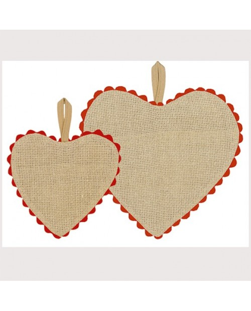Greyish-brown linen aida heart