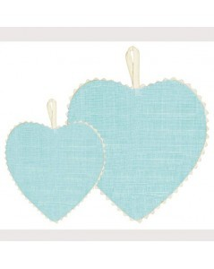 Blue linen fabric heart