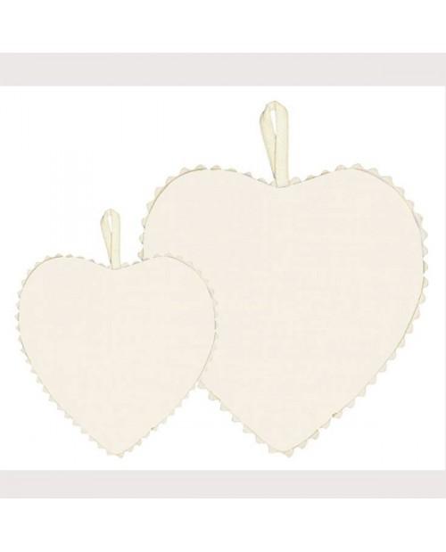 Ivory linen fabric heart