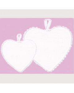 White aida fabric heart