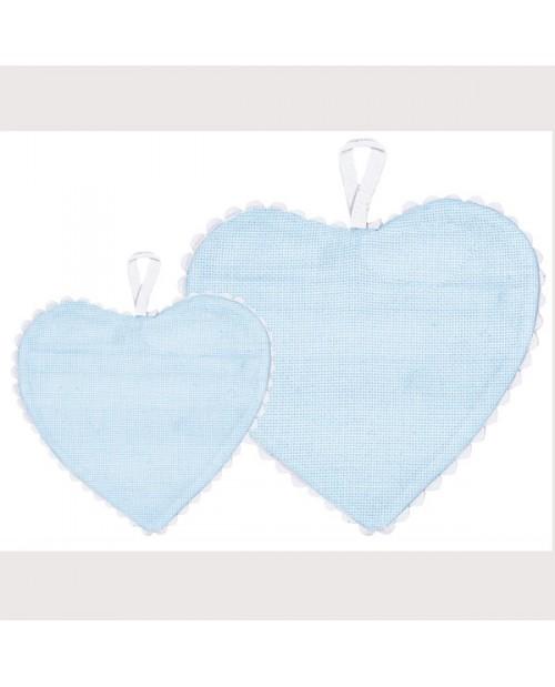 Blue aida fabric heart