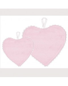Pink aida fabric heart