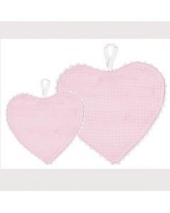 Pink aida fabric heart