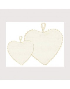 Unbleached linen aida heart