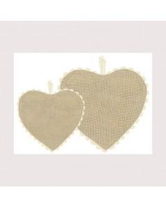 Greyish-brown linen aida heart