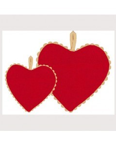 Red aida fabric heart