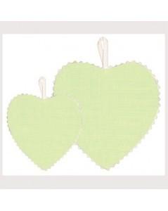 Soft green linen fabric heart