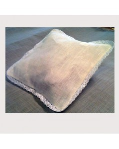 Linen wedding cushion with lace