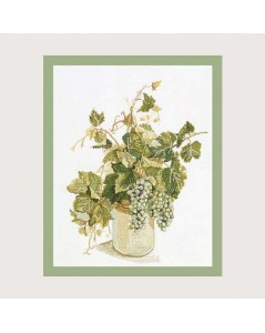 Grapes. Counted cross stitch kit. Motive: bouquet of grapes branches in a vase. Fujico F606