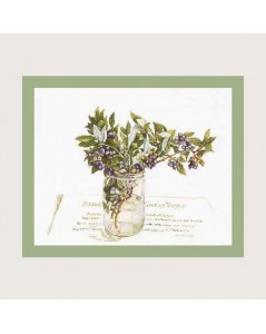 Blueberry. Counted cross stitch kit. Motive: bouquet of blueberry branches in a vase. Fujico F608