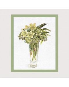 Christmas Roses. counted cross stitch embroidery kit by Fujico