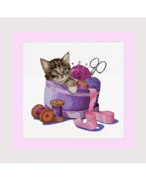 Sewing basket kitten
