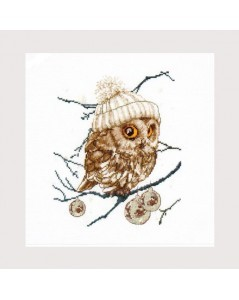 Owl in winter. Embroidery kit. Cross stitch. Whoo...whoo...It's Winter