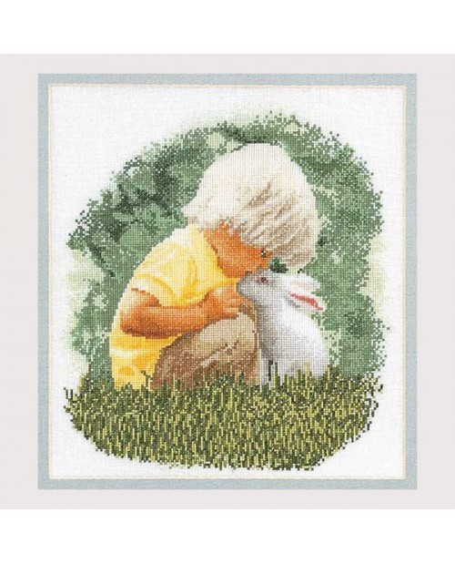 Child with a rabbit