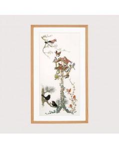 Kit broderie point de croix. Volière et les oiseaux. Création de Thea Gouverneur. G1065