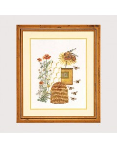 Honey and bee. Counted cross stitch kit on even-weave linen by Thea Gouverneur. G3016