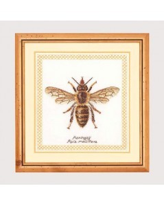 Bee. Counted cross stitch embroidery on even-weave linen. Thea Gouverneur G3017