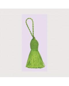 Pompon vert avec un œillet. Bonheur des Dames PB16