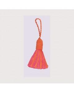 Pompon orange et rose avec un œillet. Le Bonheur des Dames PB183