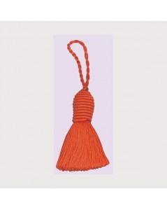 Pompon orange avec un œillet. Le Bonheur des Dames PB83