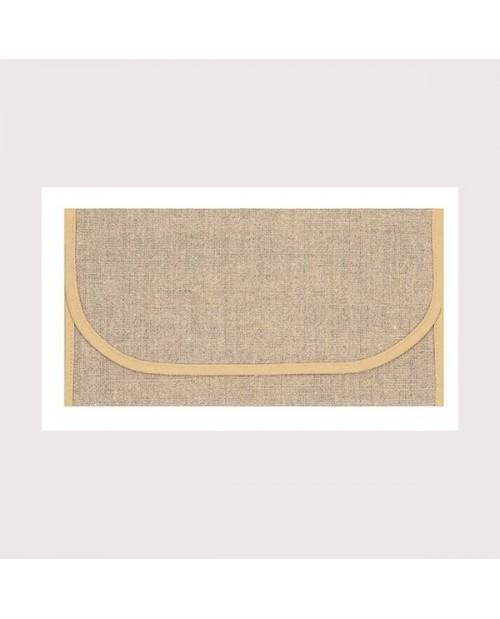 Pochette porte-serviette en étamine de lin naturel 12 fils/cm, bord beige. Le Bonheur des Dames psl1
