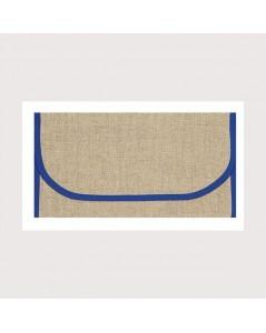 Pochette porte-serviette en étamine de lin naturel 12 fils/cm, bord bleu marine. Le Bonheur des Dames psl3