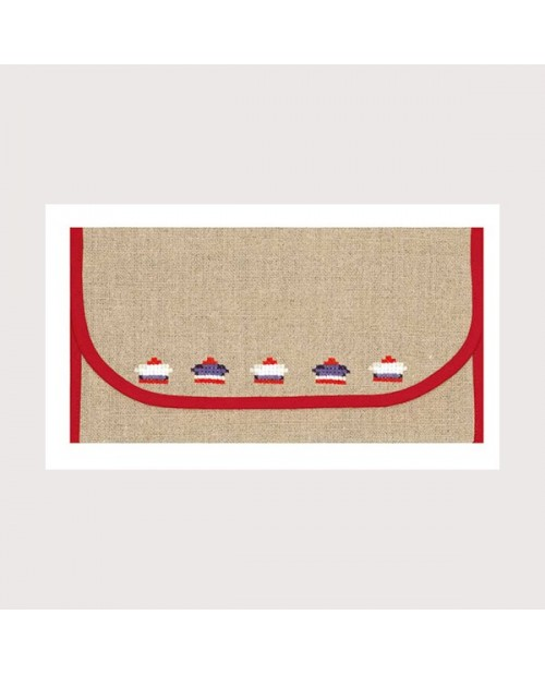 Pochette porte-serviette en étamine de lin naturel 12 fils/cm, bord rouge. Le Bonheur des Dames psl4