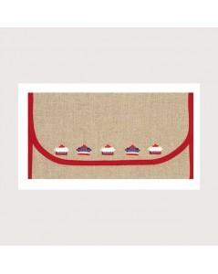 Napkin holder ready to embroider, even-weave linen 12 threads/cm. Red edge. Le Bonheur des Dames PSL4