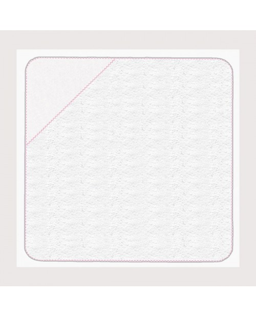 Baby terry bath towel with pink gingham edge with white 5,5 pts/cm cotton Aida angle. SB10 Le Bonheur des Dames
