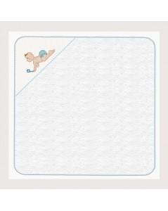 Sortie de bain bébé en éponge avec angle en Aida de coton 5.5 pts/cm, à broder, bord vichy bleu. SB12 Le Bonheur des Dames