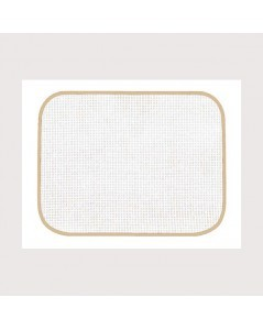 White placemat with beige border