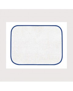 White placemat with blue border