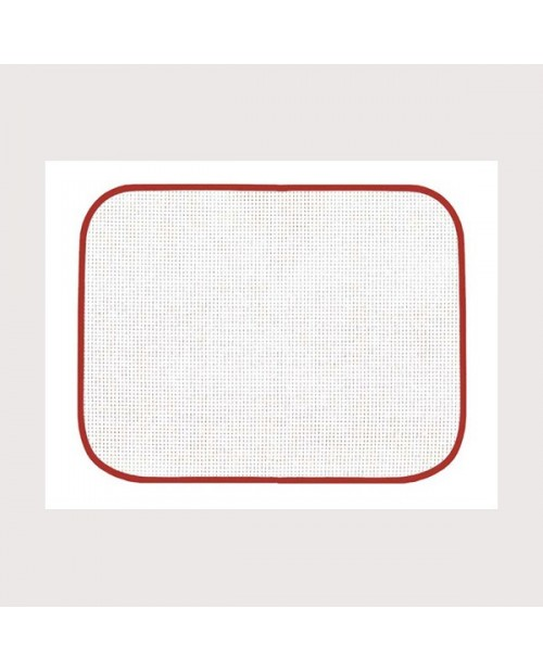 White placemat with red border