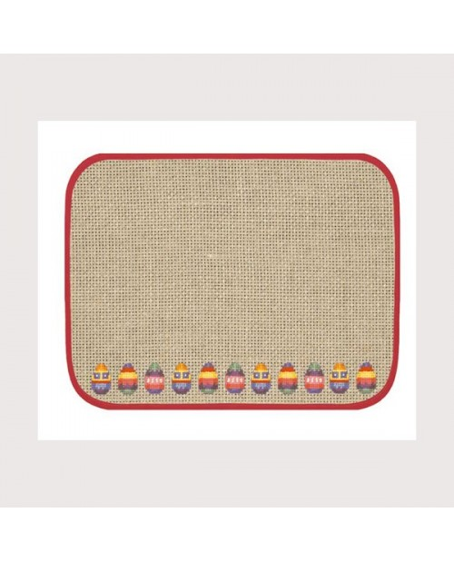 Placemat with red border
