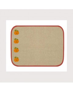 Placemat with red border. Made of even-weave linen of natural colour. Ready to embroider. SETL4