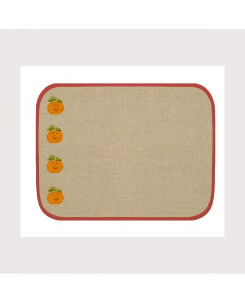 Set de table en lin 10 fils/cm avec bord rouge. Référence SETL4