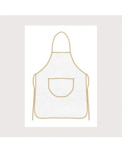 White aida apron with beige border